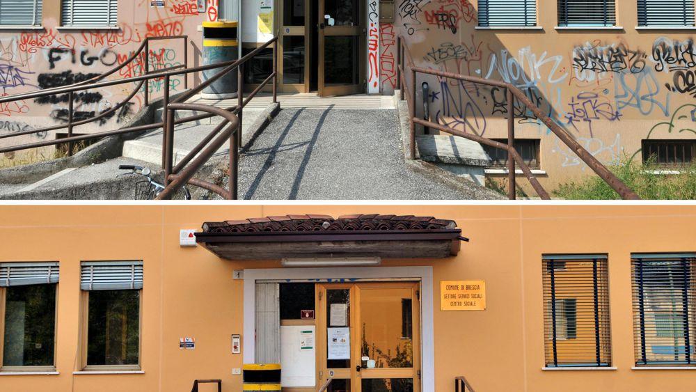 Brescia ripulita la facciata del centro sociale di via - Pulizia casa dopo lavori ...